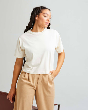 Relaxed Short Sleeve Crop // Bone