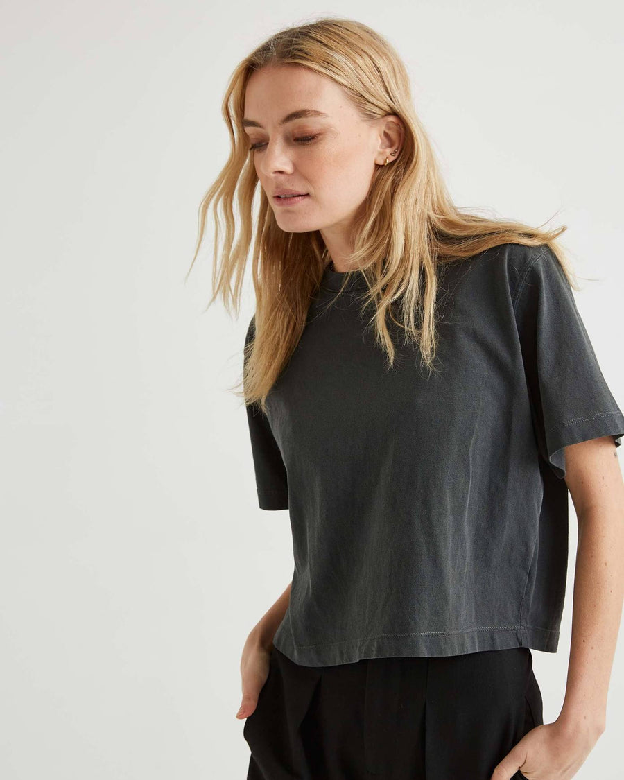 Relaxed Short Sleeve Crop // Stretch Limo