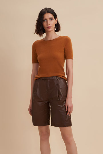 Celina Short Sleeve Sweater // Caramel