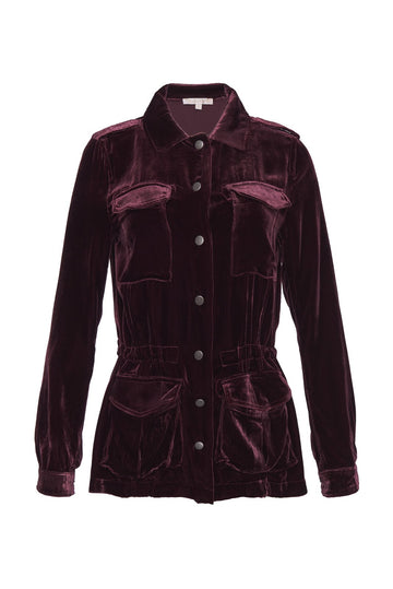 Velvet Army Jacket // Burgundy