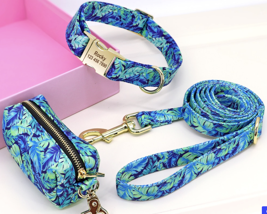 Personalized Printed Dog Collar Leash Set with Bag