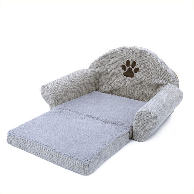 Detachable Orthopedic Plush Couch Dog Bed