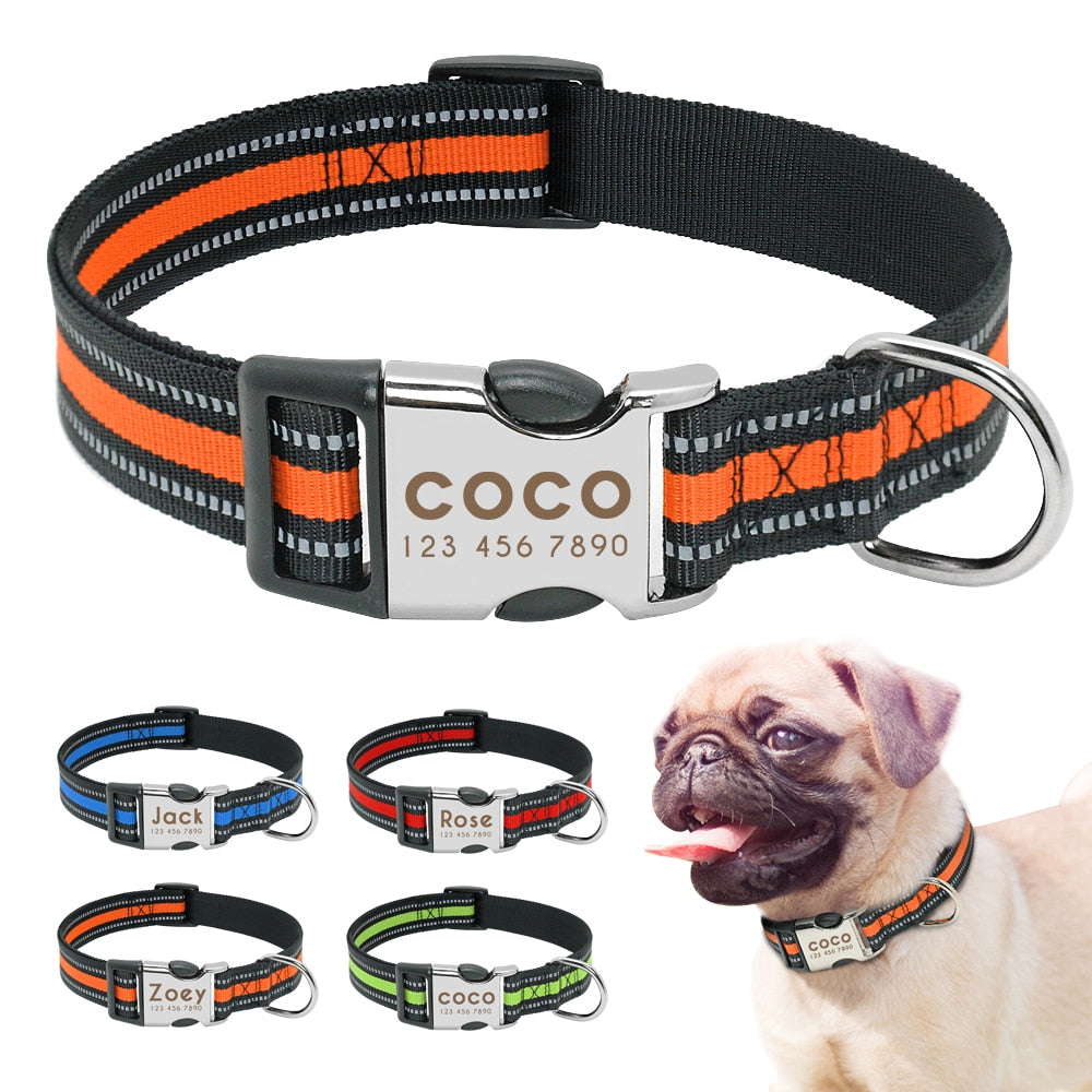 Nylon Reflective Collar- Free Engraved