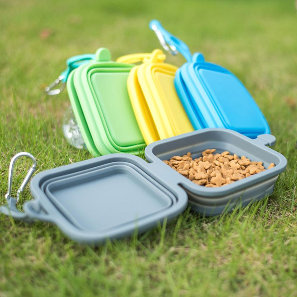 Foldable Food and Water Bowl Dish Feeder for Outdoor Travel