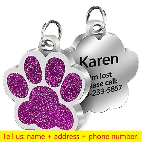 Personalized Dog Cat Glitter Paw Tag