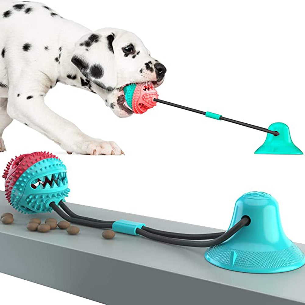 Self-Playing Dog Toy Silicon Suction Cup  Push Ball Toy plus Pet Tooth Cleaning