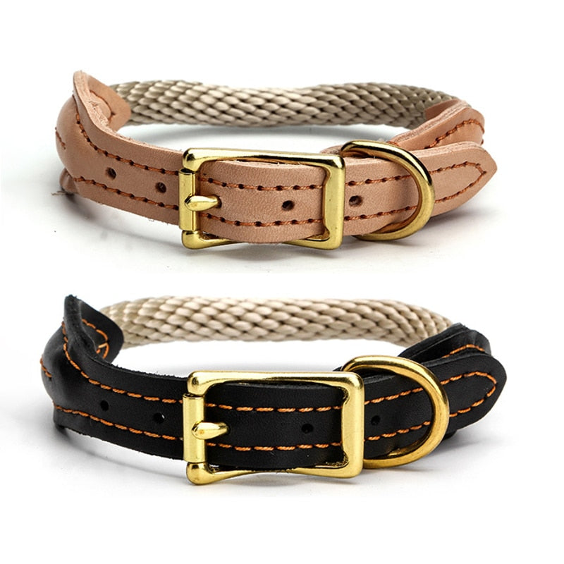 Real Leather Dog Collar Hemp Rope Collar
