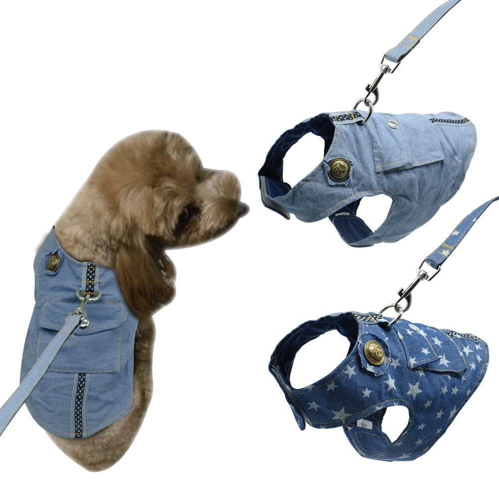 Denim Dog Vest Harness Leash Set Apparel