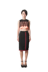 Renee's Pencil Skirt - Black/Maroon
