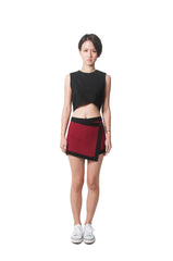 Cassie's Wrap Skirt - Maroon/Black