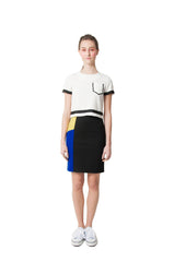 Maddie's Pencil Skirt - Blue/Yellow
