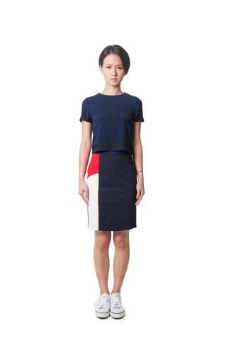 Maddie's Pencil Skirt - White/Red