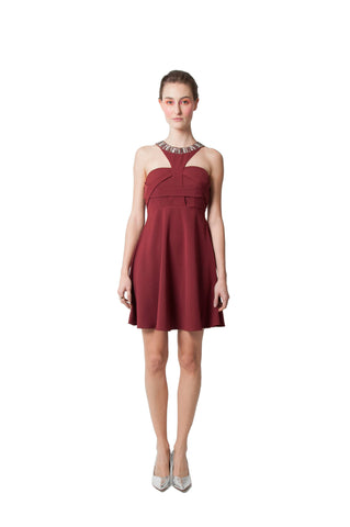 Paige's Flared Dress - Maroon