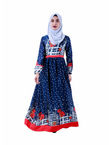 Tina Printed Dress in Navy and Red