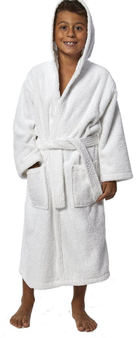 TurkishTowels Parador Hooded Terry Boys Bath Robe - White