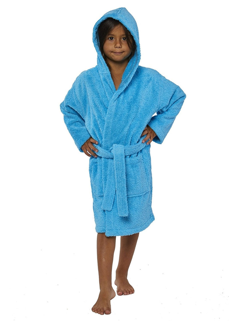 Parador Hooded Terry Kids Bath Robe - Aqua