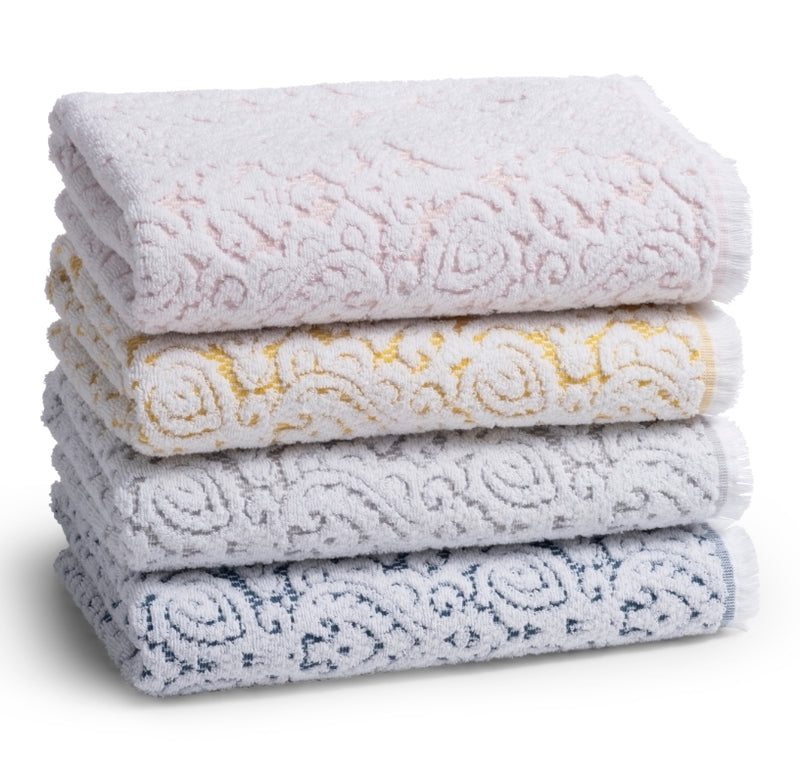 Personalized Giza Bath Towels, 100% Cotton Yarn Dye Jacquard with Fringes, 550 GSM Bath Towel, Features a Sewn in Hanger Loop, Made in Portugal