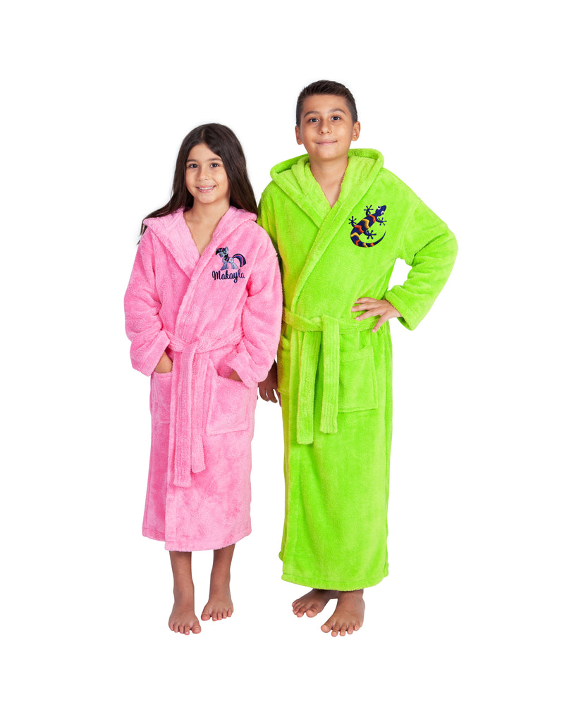 Parador® Kids Personalized, Fleece Plush, 300 GSM, Soft and Warm Hooded Bathrobe | Made in Turkey, Monogrammed for Boys