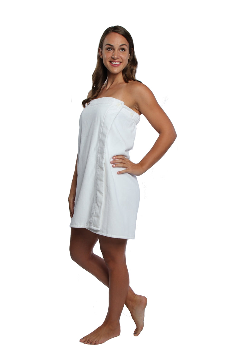 Turkish Personalized Luxury Spa Wrap, Bridesmaid Gift Terry/Velour, Parador® 100% Cotton | White Monogrammed Sauna Kilt