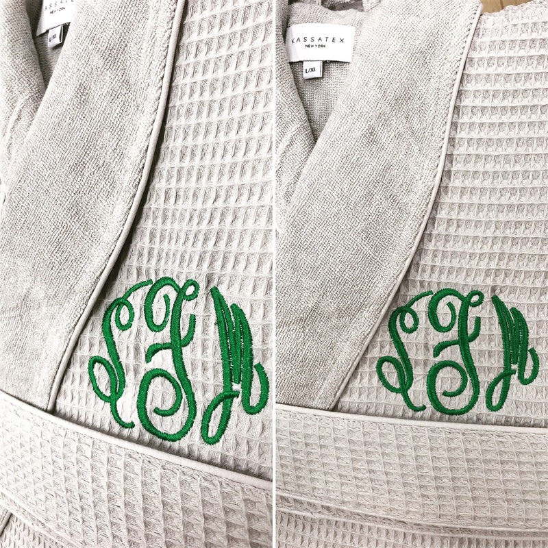 2nd Anniversary Cotton Gift for Couples, Personalized 100% Cotton Waffle/Terry Spa Robe | Made in Turkey, Monogrammed Wedding, Birthday Gift