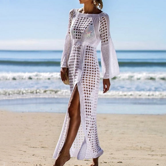Women Crochet Tunic Beach Dress High Split Ladies Cover-up Summer Women Beachwear Sexy Hollow Out Knitted Swimsuit Cover Up 2020