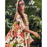 Backless Tunic Beach Dress Bikini Long Dress Print Swimwear Women Cover Up Swimsuit Beachwear Pareo Saida de Praia