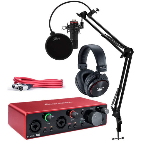Image of Focusrite Scarlett 2i2 Studio 3rd Gen USB Audio Interface Bundle with Pro Tools First, Microphone, Headphones, XLR Cable, Knox Studio Stand, Shock Mount, and Pop Filter (7 Items)