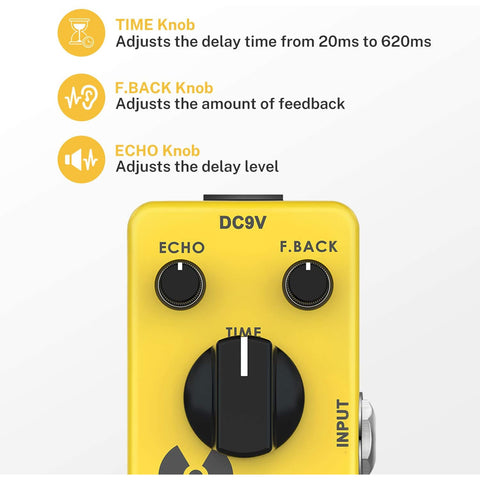 Image of Donner Yellow Fall True Bypass pedal efecto guitarra, vintage, análogo