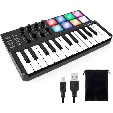 lotmusic Worlde Panda MINI Portable 25 Keys USB Keyboard MIDI Controller with Pro Software Suite Colorful Drum Pads and Carry Bag Included