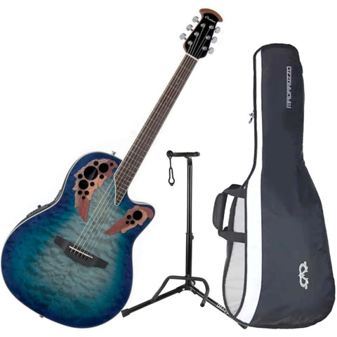 Image of Ovation CE48P-RG Celebrity Elite Plus Super Shallow Regal to Natural Acoustic/Electric Guitar with Gig Bag and Guitar Stand