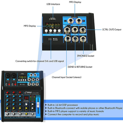 Image of Pyle Professional Audio Mixer Sound Board Console System Interface 4 Channel Digital USB Bluetooth MP3 Computer Input 48V Phantom Power Stereo DJ Studio Streaming FX 16-Bit DSP Processor - PMXU43BT.5