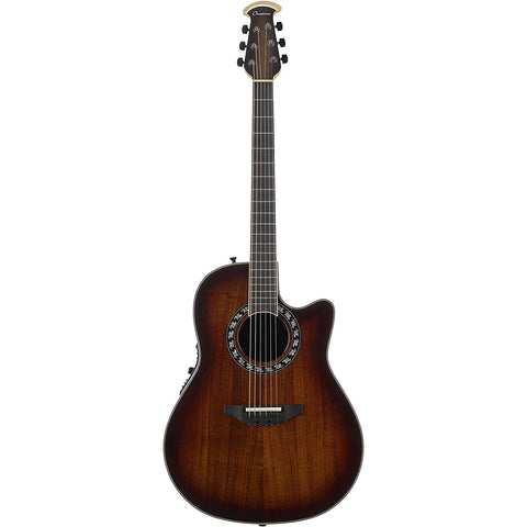 Ovation ExoticWoods Collection 6 String Acoustic-Electric Guitar, Right, Aged Natural Burst (C2079AXP2-KOAB)