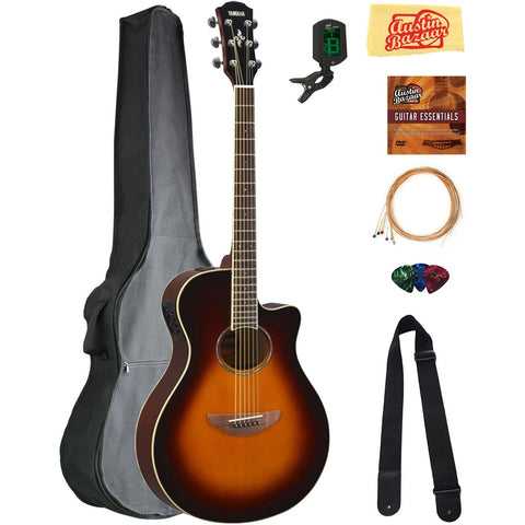 Image of Yamaha APX600 Thin Body Acoustic-Electric Guitar - Old Violin Sunburst Bundle with Gig Bag, Tuner, Strings, Strap, Picks, Austin Bazaar Instructional DVD, and Polishing Cloth