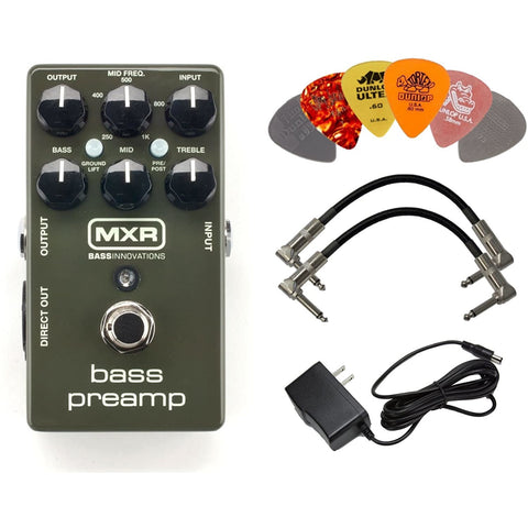 Image of MXR M81 Bass Preamp Pedal Bundle with 9V Power Supply, 2 Patch Cables and 6 Dunlop Picks