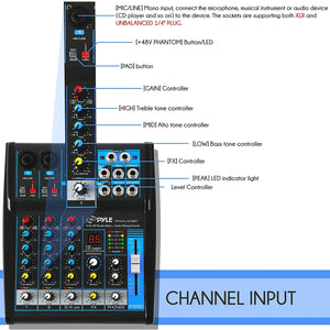 Pyle Professional Audio Mixer Sound Board Console System Interface 4 Channel Digital USB Bluetooth MP3 Computer Input 48V Phantom Power Stereo DJ Studio Streaming FX 16-Bit DSP Processor - PMXU43BT.5
