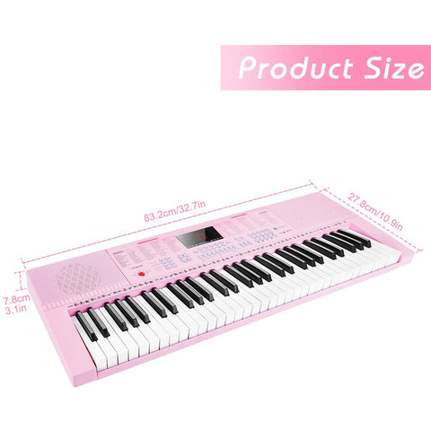Image of Digital Electric Keyboard Piano, Premium 49-Key Portable Electronic Keyboard Piano for Beginners, Adapter & Battery Power Supply, Pink, by Vangoa