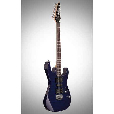 Image of Ibanez 6 String Solid-Body Electric Guitar, Right, Blue (GRX70QATBB)