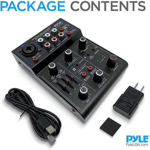 Image of Professional Wireless DJ Audio Mixer - 3-Channel Bluetooth DJ Controller Sound Mixer w/USB Audio Interface, Combo Jack XLR+6.35mm Mic/Line/Guitar in, 3.5mm, RCA, AUX, Headphone Jack - Pyle PAD33MXUBT