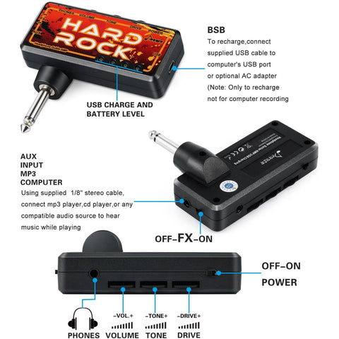 Donner Guitar Headphone AMP Hard Rock Pocket FX Delay Rechargeable Mini Practice Amplifier