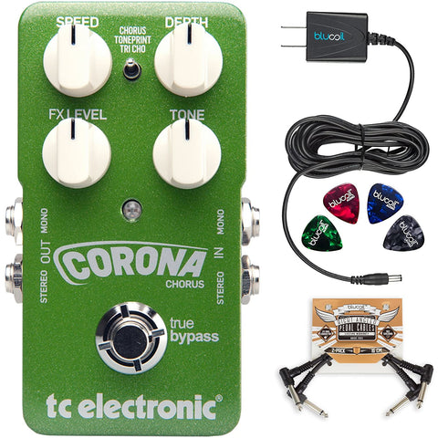Image of TC Electronic Corona Chorus Pedal with TonePrint Bundle with Blucoil Power Supply Slim AC/DC Adapter for 9 Volt DC 670mA, 2-Pack of Pedal Patch Cables and 4-Pack of Celluloid Guitar Picks