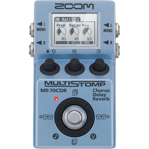 Image of Zoom MS-70CDR MultiStomp Guitar Effects Pedal, Chorus, Delay, and Reverb Effects, Single Stompbox Size, 86 Built-in effects, Tuner