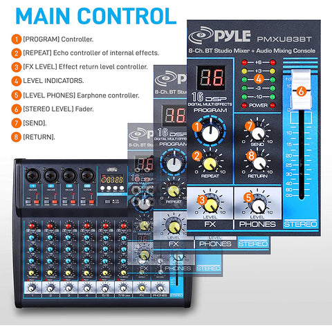 Professional Audio Mixer Sound Board Console Desk System Interface 8 Channel Digital USB Bluetooth MP3 Computer Input 48V Phantom Power Stereo DJ Studio FX 16Bit DSP Processor Pyle PMXU83BT,Black