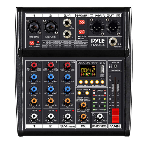 Professional DJ Audio Mixer Controller - 4-Channel DJ Controller Sound Mixer w/ DSP 16 Preset Effects, USB Interface, 2 XLR Mic/Line Input, AUX, FX Processor MP3 Player, Headphone Jack - Pyle PMX464