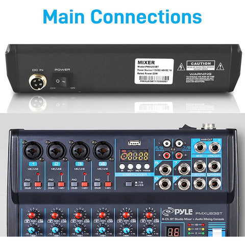 Image of Professional Audio Mixer Sound Board Console Desk System Interface 8 Channel Digital USB Bluetooth MP3 Computer Input 48V Phantom Power Stereo DJ Studio FX 16Bit DSP Processor Pyle PMXU83BT,Black