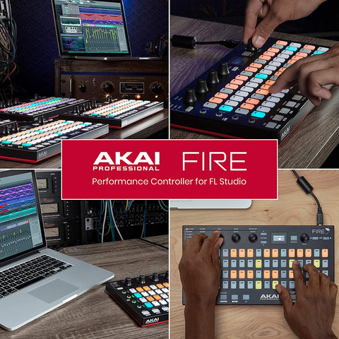 Image of Akai Professional USB MIDI Controller for FL Studio with 64 RGB Clip/Drum Pad Matrix (Fire)