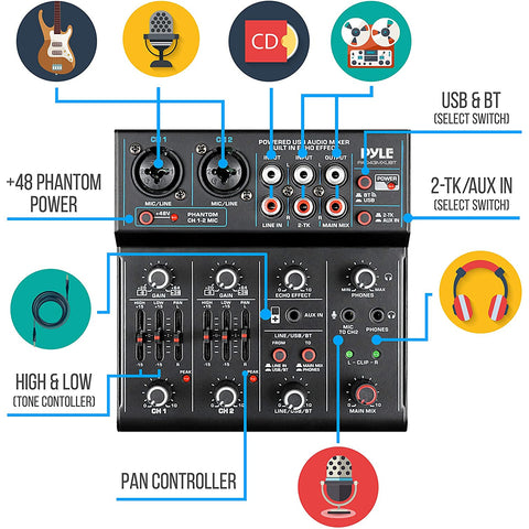 Professional Wireless DJ Audio Mixer - 4-Channel Bluetooth DJ Controller Sound Mixer - USB Audio Interface, 2 Combo Jack XLR+6.35mm Mic/Line/Guitar In, 3.5mm, RCA AUX, Headphone Jack - Pyle PAD43MXUBT