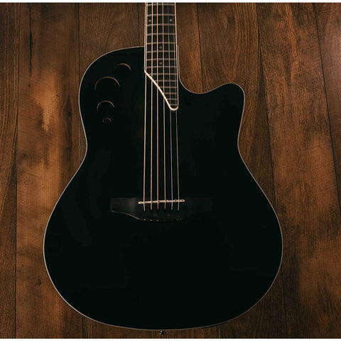 Ovation Applause 6 String Acoustic-Electric Guitar, Right, Black, Mid-Depth (AE44II-5)