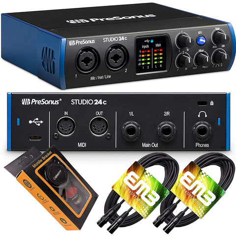 PreSonus Studio 24c USB-C Audio Interface with 2 XMAX-L Preamps, Headphone Output, and MIDI Input/Output with Pair of EMB XLR Cable and Gravity Mobile Bracket