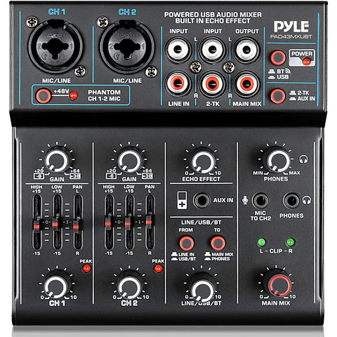 Image of Professional Wireless DJ Audio Mixer - 4-Channel Bluetooth DJ Controller Sound Mixer - USB Audio Interface, 2 Combo Jack XLR+6.35mm Mic/Line/Guitar In, 3.5mm, RCA AUX, Headphone Jack - Pyle PAD43MXUBT