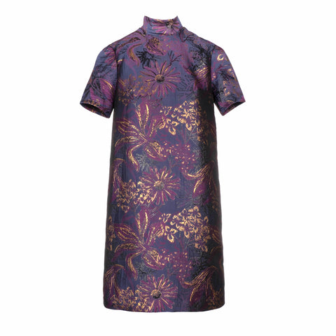 purple brocade dress
